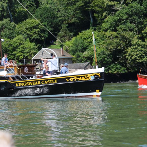 paddle steamer passing Dittisham to Dartmouth ferry